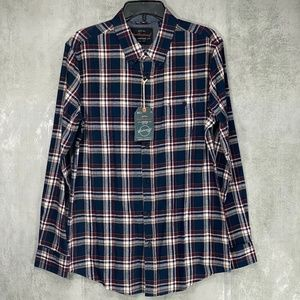 weatherproof Blue/Red Plaid Flannel Button Down Lo